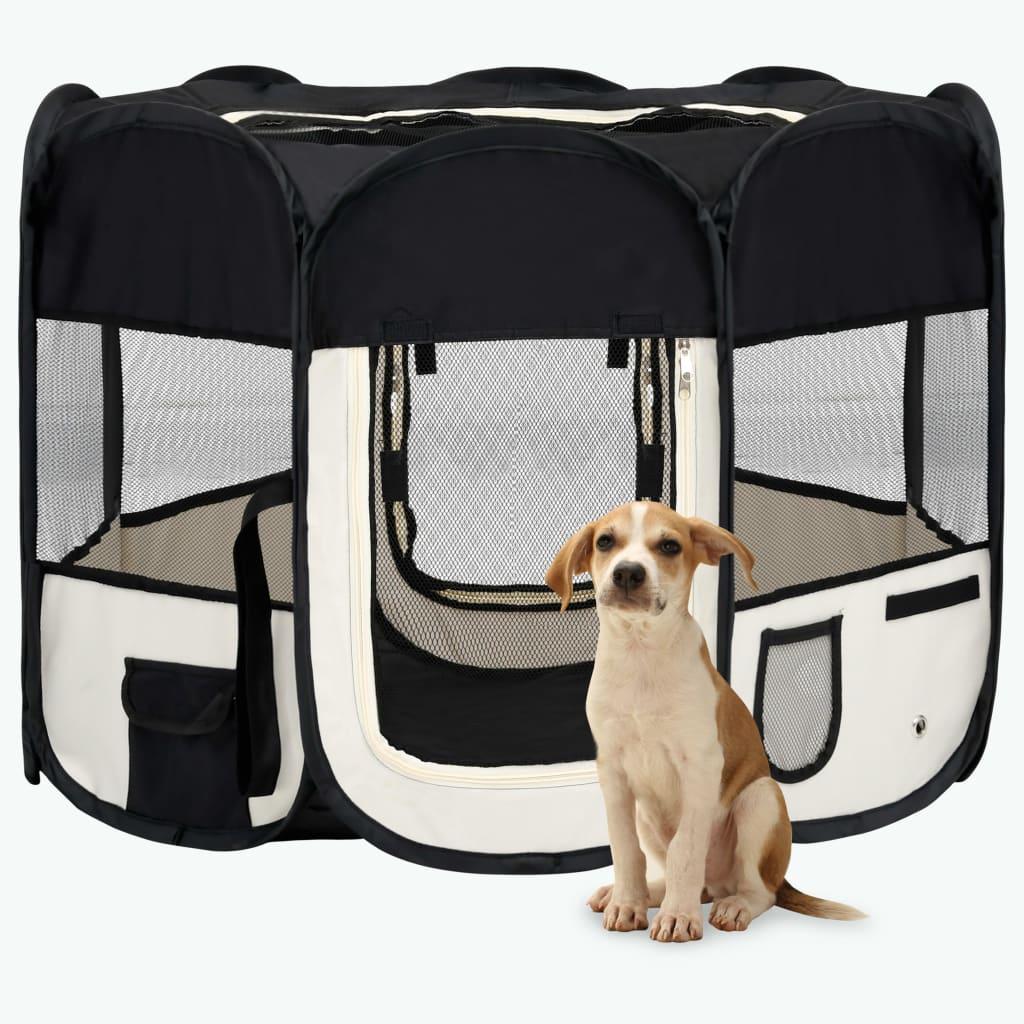 vidaXL Skladacia ohrádka pre psa s prenosnou taškou čierna 90x90x58 cm
