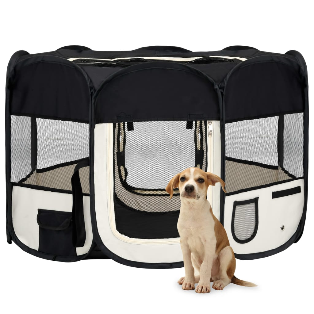 vidaXL Skladacia ohrádka pre psa s prenosnou taškou čierna 110x110x58 cm
