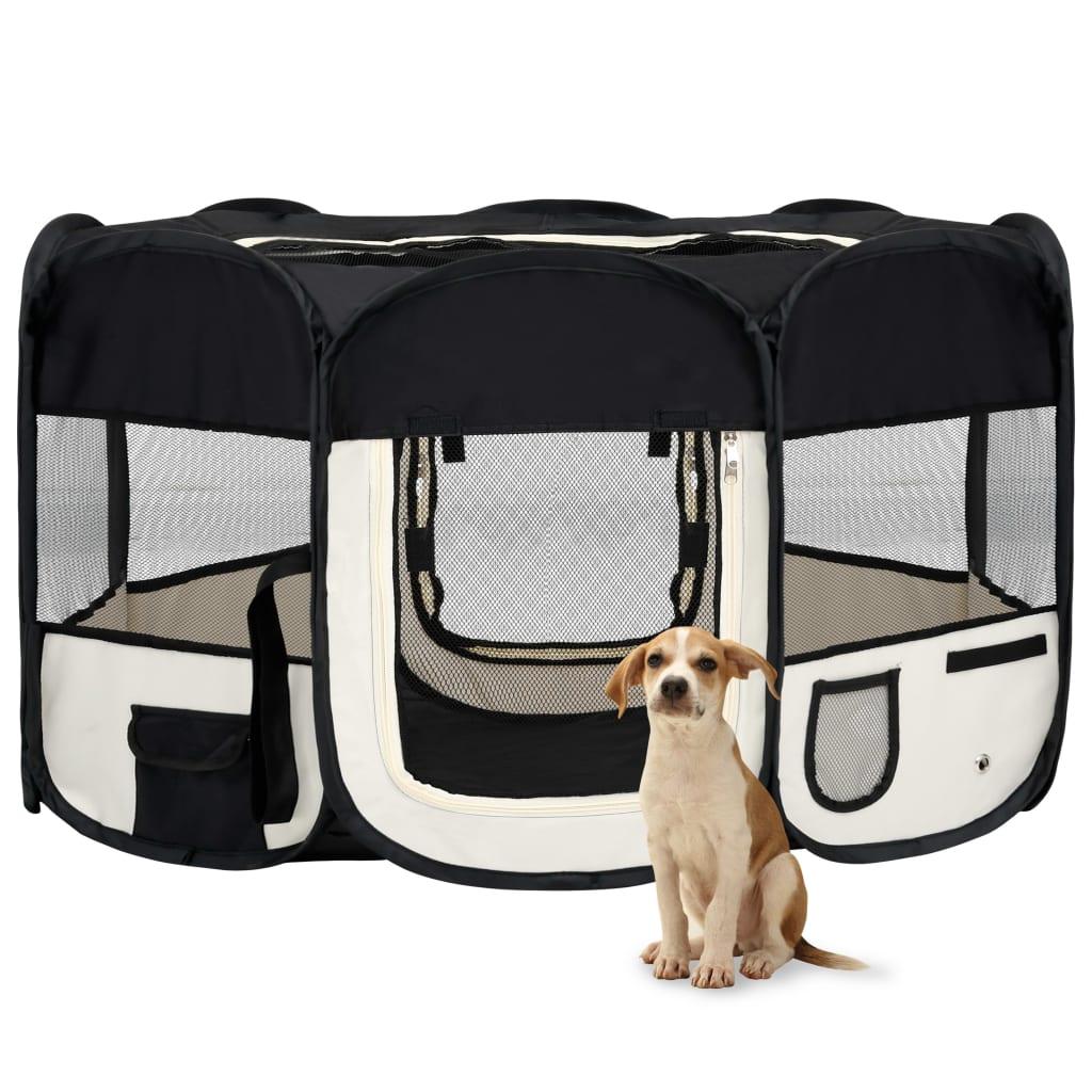 vidaXL Skladacia ohrádka pre psa s prenosnou taškou čierna 145x145x61 cm