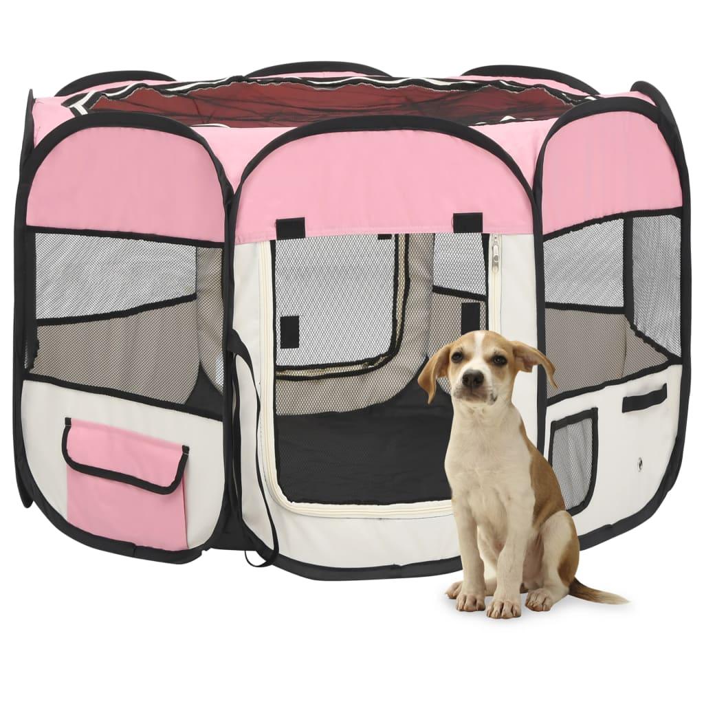 vidaXL Skladacia ohrádka pre psa s prenosnou taškou ružová 90x90x58 cm