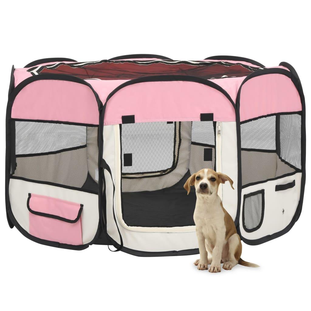 vidaXL Skladacia ohrádka pre psa s prenosnou taškou ružová 110x110x58 cm