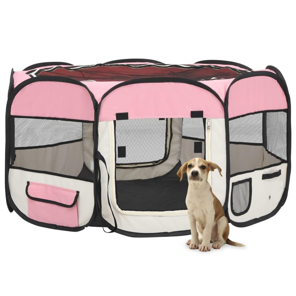 vidaXL Skladacia ohrádka pre psa s prenosnou taškou ružová 125x125x61 cm