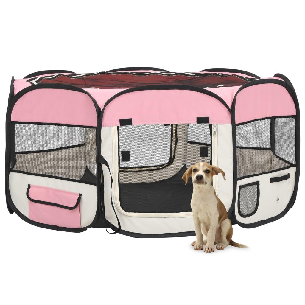 vidaXL Skladacia ohrádka pre psa s prenosnou taškou ružová 145x145x61 cm