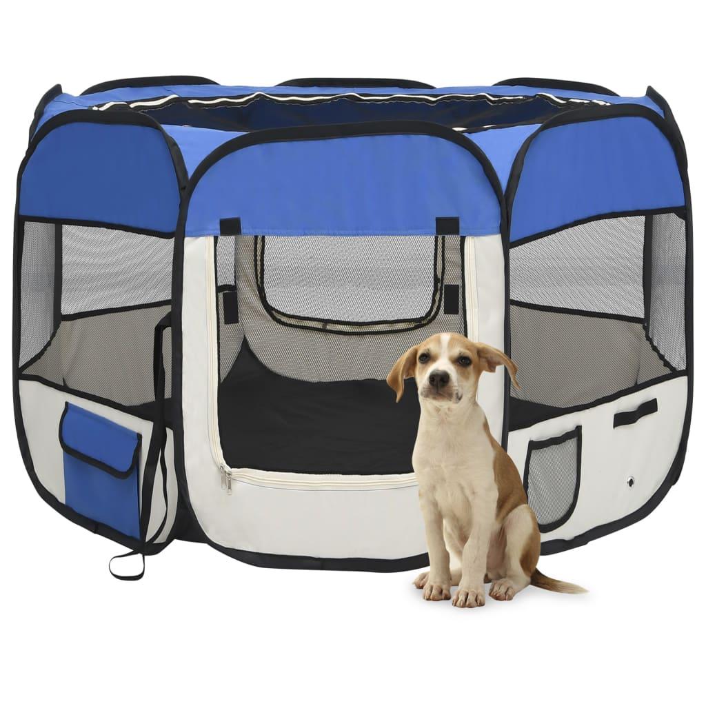 vidaXL Skladacia ohrádka pre psa s prenosnou taškou modrá 90x90x58 cm