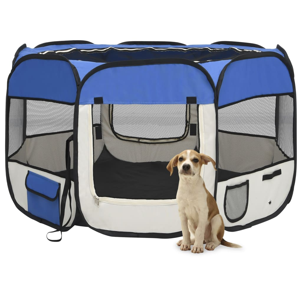 vidaXL Skladacia ohrádka pre psa s prenosnou taškou modrá 110x110x58 cm