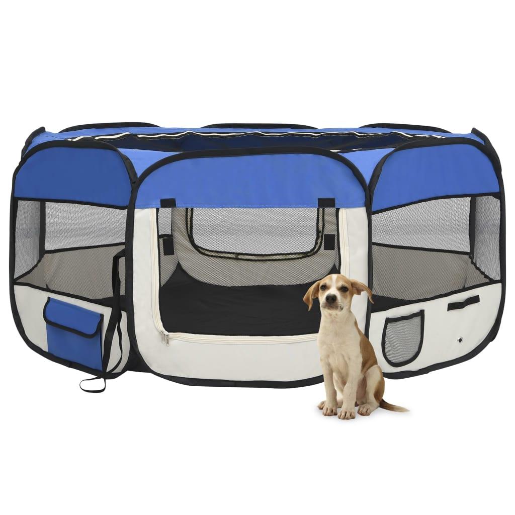 vidaXL Skladacia ohrádka pre psa s prenosnou taškou modrá 145x145x61 cm
