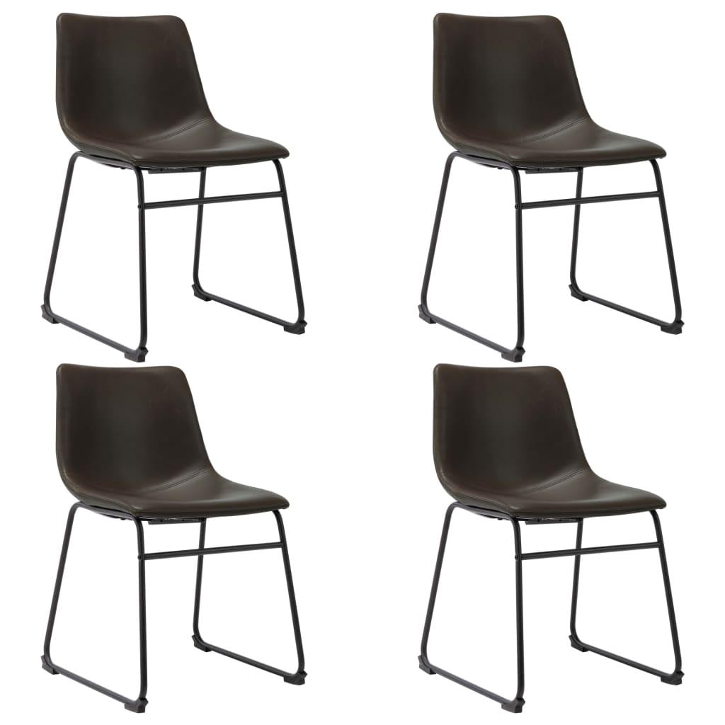 vidaXL Jedálenské stoličky 4 ks, tmavohnedé, umelá koža
