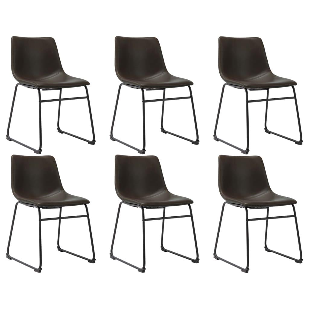 vidaXL Jedálenské stoličky 6 ks, tmavohnedé, umelá koža