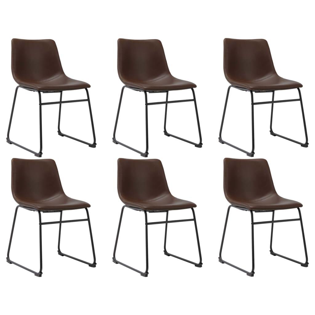 vidaXL Jedálenské stoličky 6 ks, svetlohnedé, umelá koža