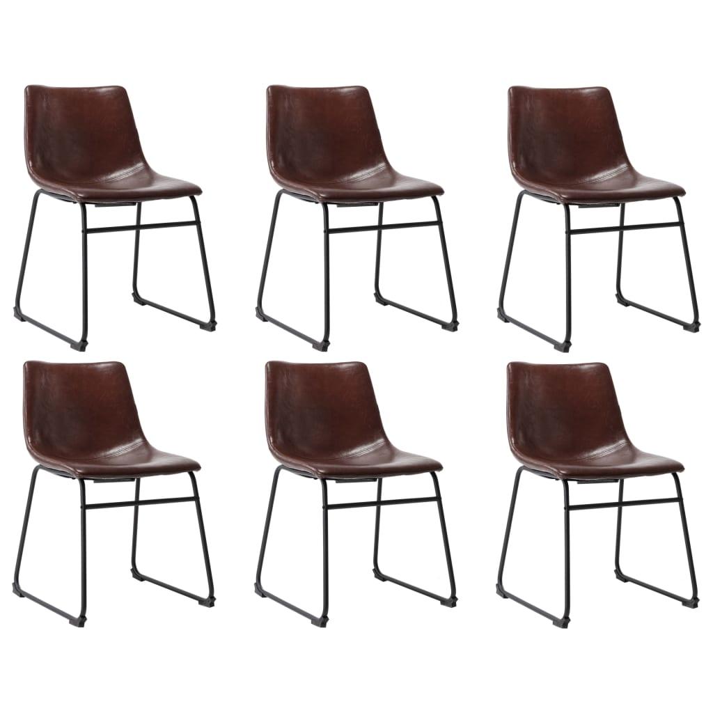 vidaXL Jedálenské stoličky 6 ks, lesklé hnedé, umelá koža