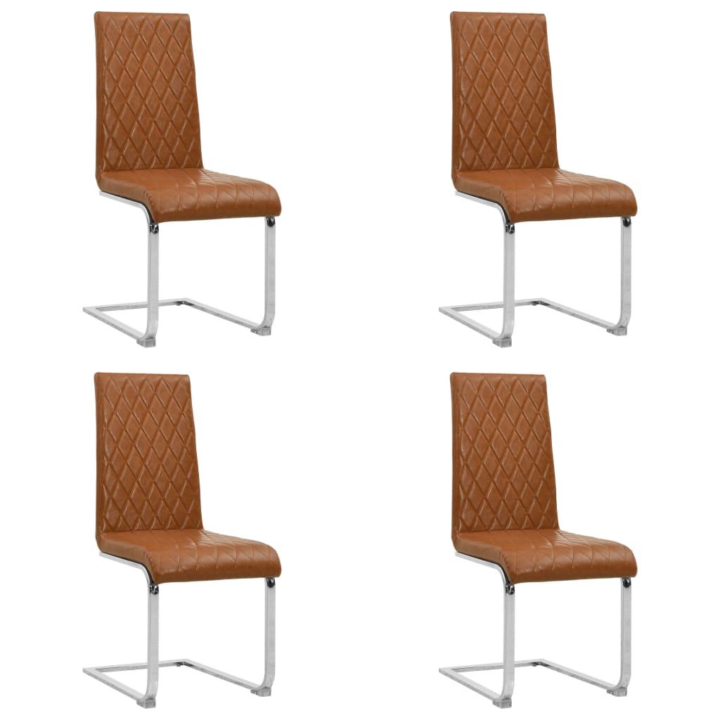 vidaXL Jedálenské stoličky, perová kostra 4ks, lesklé hnedé,umelá koža