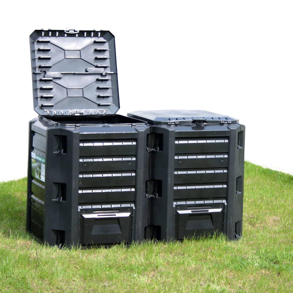 vidaXL Záhradný kompostér čierny 1600 l