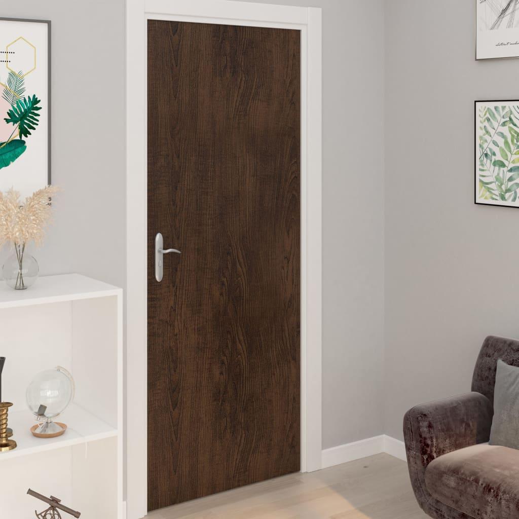 vidaXL Samolepiace tapety na dvere 4 ks, tmavý dub 210x90 cm, PVC