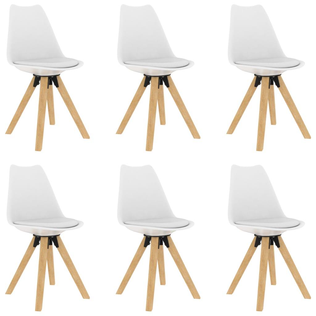 vidaXL Jedálenské stoličky 6 ks biele PP a masívne bukové drevo
