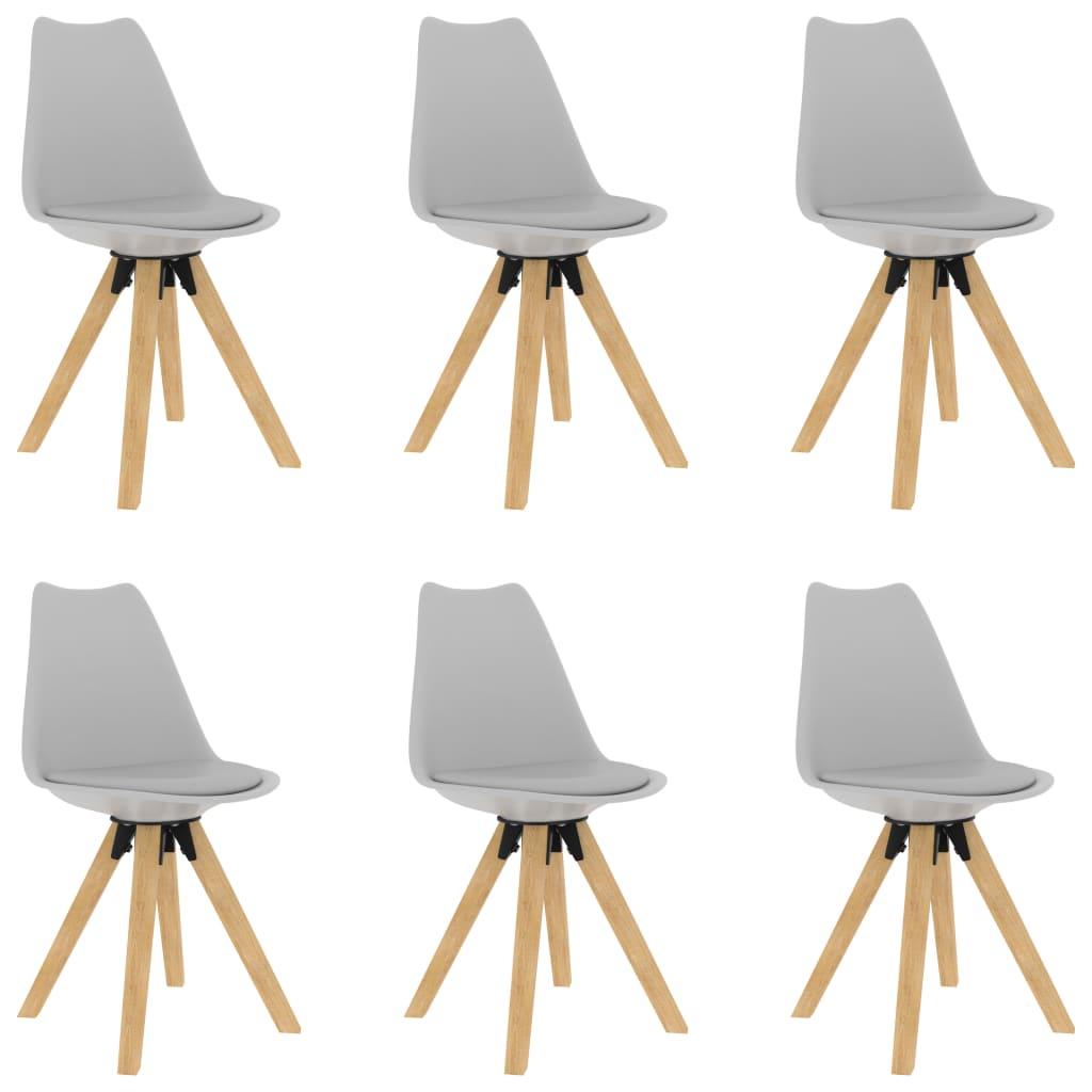 vidaXL Jedálenské stoličky 6 ks sivé PP a masívne bukové drevo