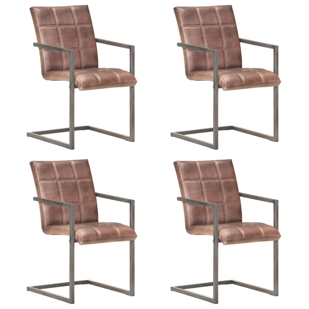 vidaXL Jedálenské stoličky s perovou kostrou 4 ks ošúchané hnedé pravá koža
