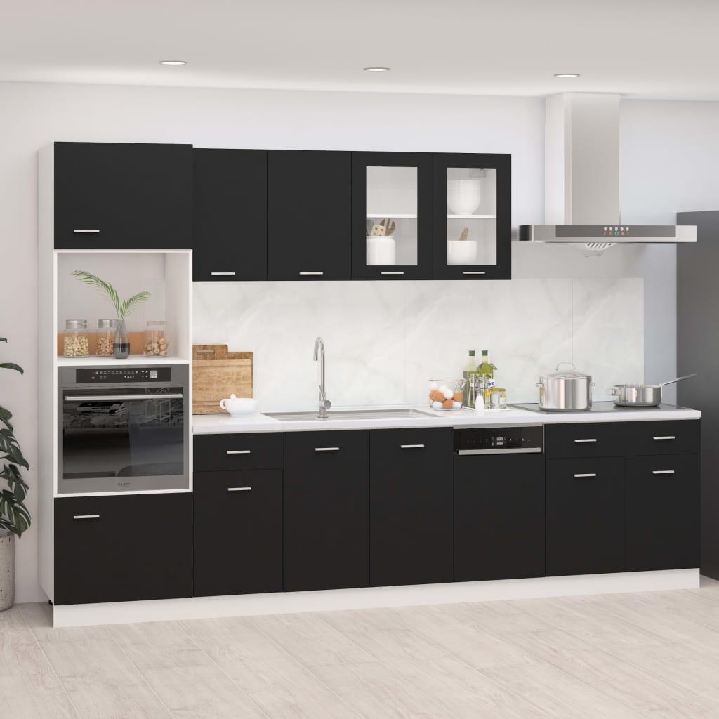 vidaXL 7-dielna sada kuchynských skriniek čierna drevotrieska