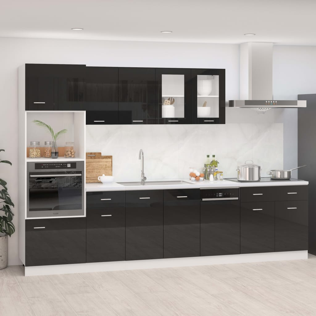 vidaXL 7-dielna sada kuchynských skriniek lesklá čierna drevotrieska