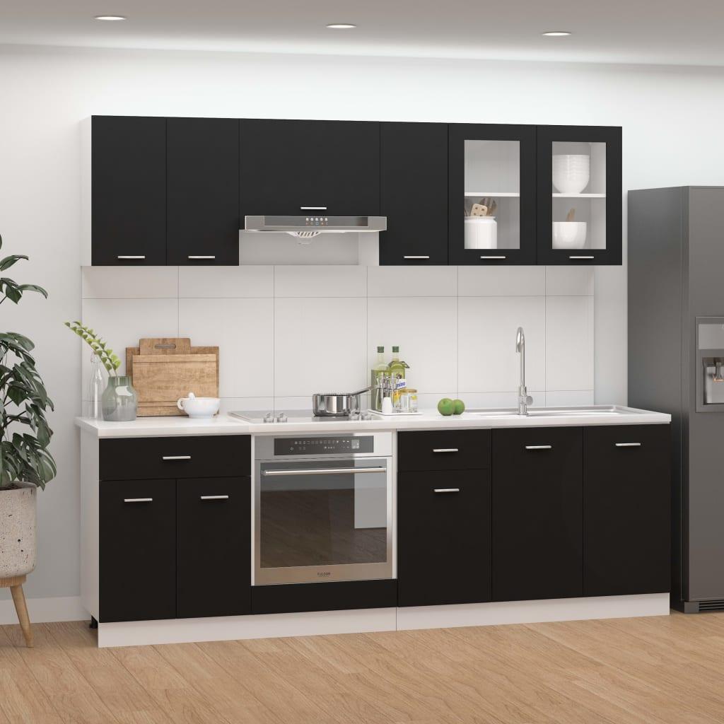 vidaXL 8-dielna sada kuchynských skriniek čierna drevotrieska