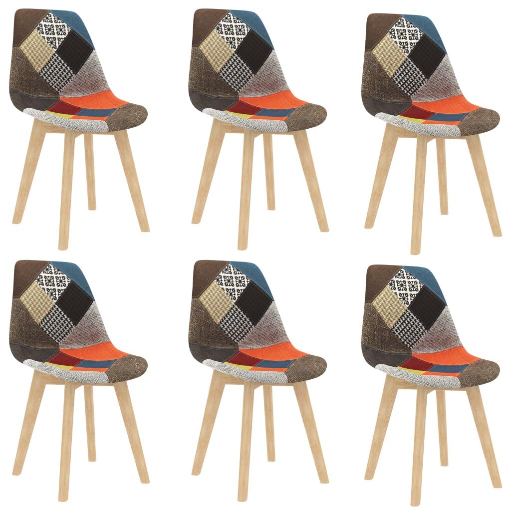 vidaXL Jedálenské stoličky 6 ks dizajn patchwork rôznofarebné látkové