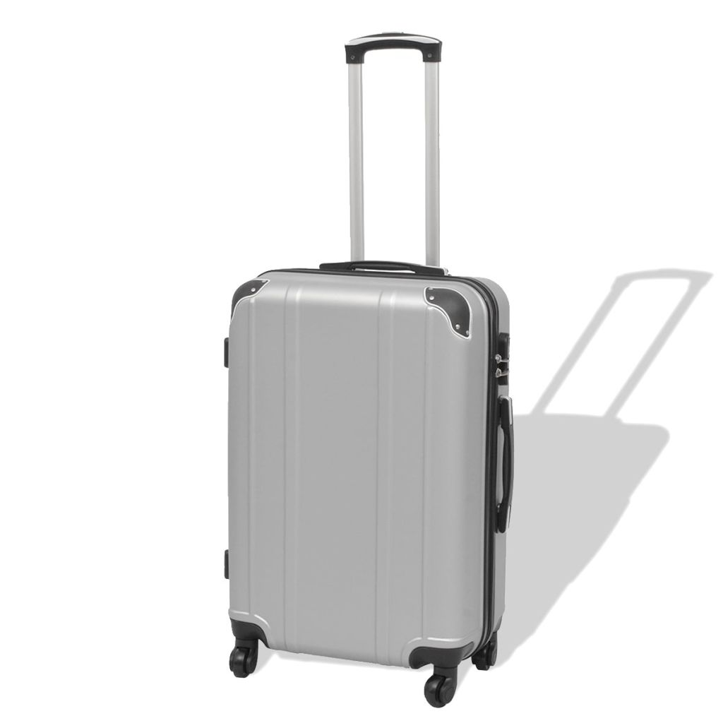 ff19525251b11 vidaXL Sada 4 cestovných kufrov z tvrdým krytom, strieborná