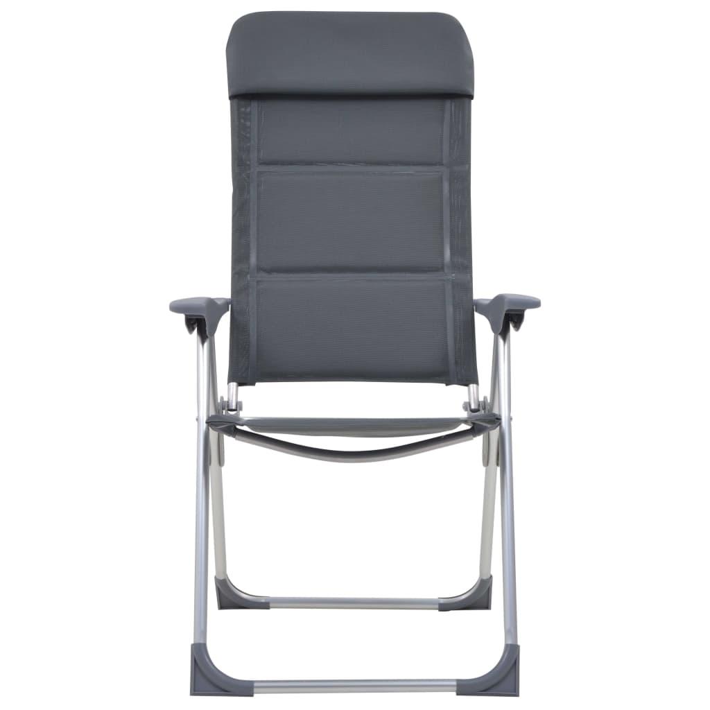 2f2fb146203b vidaXL Kempingové stoličky 2 ks sivé 58x69x111 cm hliníkové