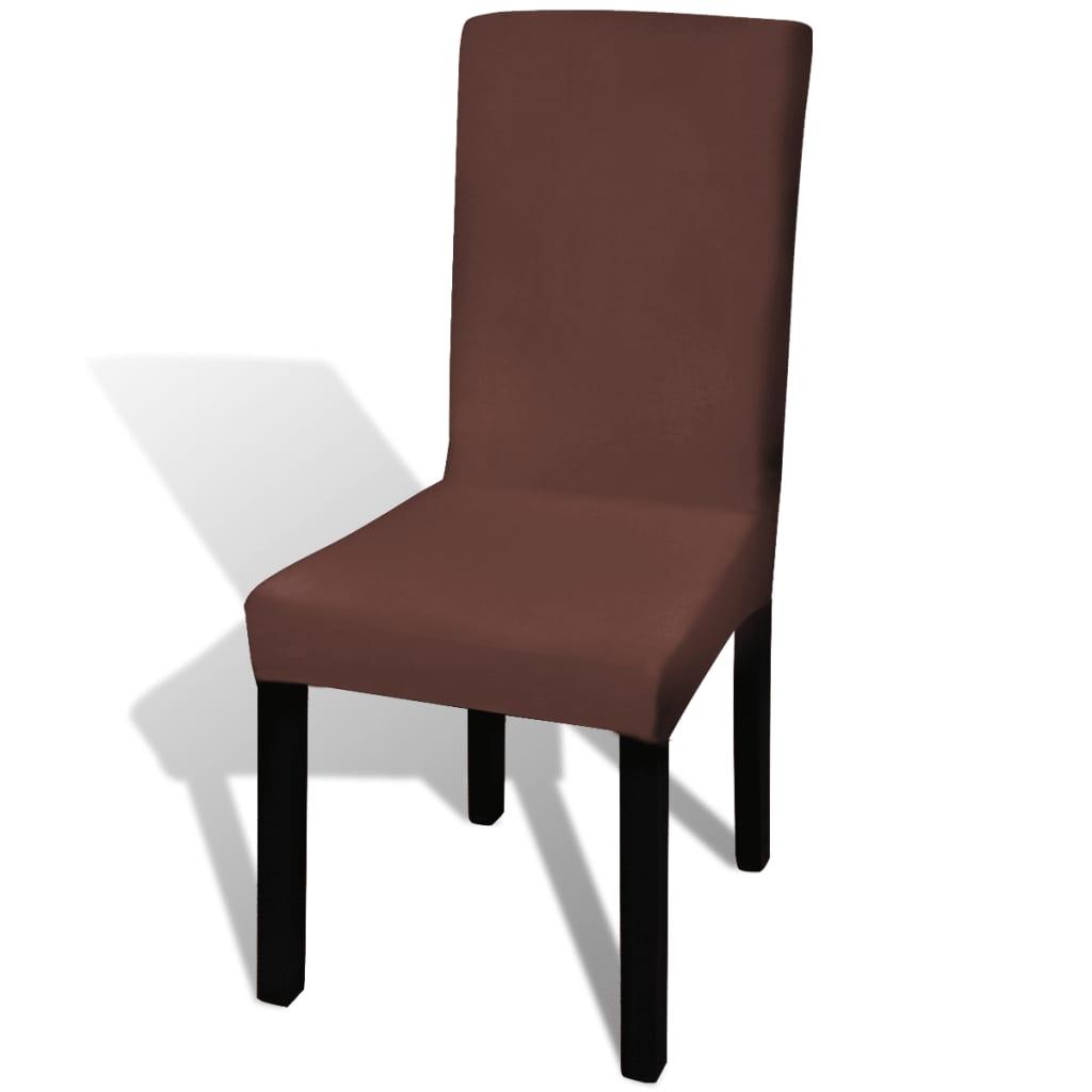 9f1334812a10f vidaXL Rovný naťahovací návlek na stoličku, 4 ks, hnedý